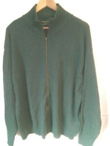 """Woolovers green lambswool zip cardigan size L/46""""-48""""chest"""