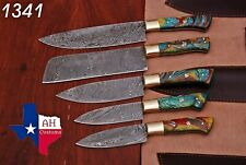 5 HAND FORGED DAMASCUS STEEL CHEF KITCHEN KNIFE SET WITH RISEN HANDLE AH 1341