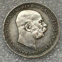 1916 AUSTRIA HABSBURG SILVER  1 CORONA COIN, FRANZ JOSEPH I, free combined S/H