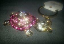 Rosa Oro Bejeweled tortuga tortuga Bolso Encanto Llavero, Llavero, Llavero, Joya