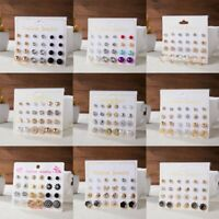 12 Pairs Fashion Rhinestone Crystal Pearl Earrings Set Women Ear Stud Jewellery