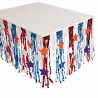 Patriotic Metallic Fringe Plastic Table Skirt With Star Cutouts