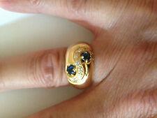 bague jonc joaillerie or 18 carats, saphirs et diamants véritables, chevalière