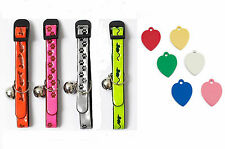 REFLECTIVE CAT COLLAR, Pink,Orange,Silver or Yellow + ENGRAVED HEART PET ID TAG