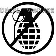 No Grenades Vinyl Sticker Decal DTF JDM War Funny Jersey - Choose Size & Color