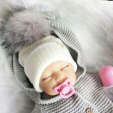 Winter Baby Boy Girl Artificial Pompom Knitted Hat Toddler Kids Caps With Pompon
