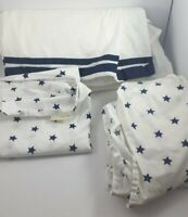 Pottery Barn Kids Toddler Bedding Sheets Blue Stars Harper Skirt Crib Lot of 3
