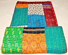 Antique Vintage Kantha Quilt Indian Ikat Silk Handmade Patchwork Blanket King SZ