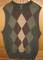 Dockers Men's Sweater Vest V neck pullover Argyle Print Green Brown size XL EUC