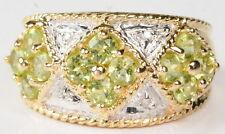 Ladies 14K Roped Yellow Gold Peridot & Diamond Band Right Hand Estate Ring