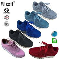 Womens Crystal Glitter Sneakers Trainers Ladies Casual Flats Walking Shoes Sizes