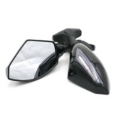 Pair LED Turn Lights Side Mirrors Rearview Mirrors Motorcycle For Yamaha Suzuki