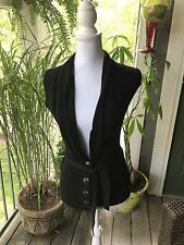 Kindle Pretty Black Big Buttons Sleeveless Sweater Vest With Tie Belt XS NWOT