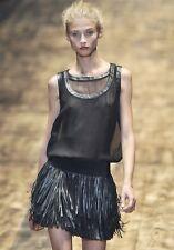 GIAMBATTISTA VALLI Black Leather Fringe Skirt 40 4