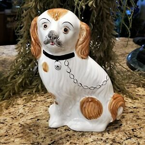 Staffordshire SPANIEL Hand Painted in Portugal Artisan Signed 468R