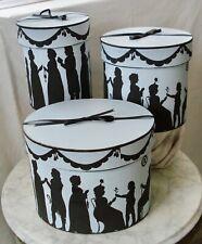 3-Vintage Antique '19th-Century Silhouette' Hat Boxes