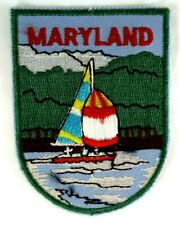 Vintage MARYLAND Sail Boat Woven Embroidered Travel Souvenir Patch Badge Sailing
