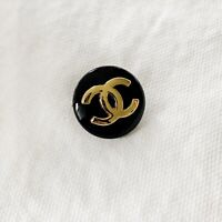 "Authentic Chanel *STAMPED* Gold CC Logo Black Round Metal Button 3/4"", 20mm Wide"