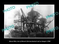OLD LARGE HISTORIC PHOTO OF HURON OHIO THE MECHANICAL COAL DUMPER c1900