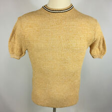 Vintage 50s 60s Plain Blank Knit Mesh Atomic Mod Retro Surf Stripe Shirt Disco