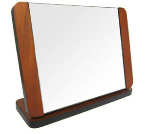 Portable Folding Wooden Mirror Countertop Jewelry Display Case Vanity Stand
