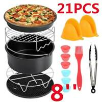 22PCS 8In Air Fryer Frying Cage Dish Baking Pan Rack Pizza Tray Pot Accessories+