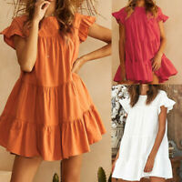 Plus Size Women Sexy Casual Ruffle Short Sleeve Mini Dress Evening Party Dress