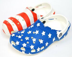 NEW Crocs Classic Red White Blue American Flag USA Slide On Clog Shoe