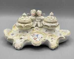 Seltenes Tintenfass Schreibtisch Zubehör Porzellan Engel Figur Alt Antik ca 1880