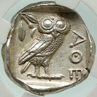 ATHENS Greece 440BC Ancient Silver Greek TETRADRACHM Coin Athena Owl NGC i84880