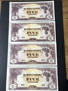 Malaya WW2 Japanese Invasion 4 x 5 Dollar banknotes MR Uncirculated