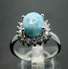 Tiny PEAR Natural LARIMAR 5mm X 7mm GEMSTONE 925 Sterling Silver Wedding Ring