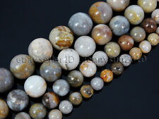 Natural Bamboo Leaf Agate Gemstone Round Beads 15.5'' Strand 6mm 8mm 10mm 12mm