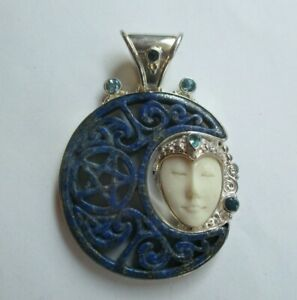 Signed SAJEN 925 Sterling Silver Carved Moon Face Pendant Blue Lapis Stone