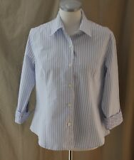 Ninety, Large, Light Blue/White Stripe Fitted Button Front Top