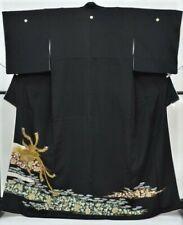 FAB Vintage Japanese Ladies' Black Crepe 'Gold Phoenix' Tomesode/Kimono/Robe M/L