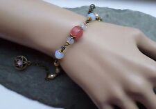 Opalite Tourmaline Vintage Style Pentacle Charm Bracelet Pagan Witch Wiccan Gift