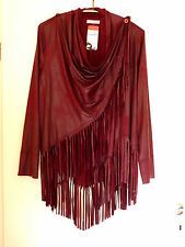 Magna Frange Similpelle Giacca 52 54 NUOVO! a-forma BORDEAUX STRETCH Lagenlook