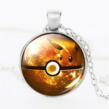 Fashion Silver Chain  Pokemon Eevee Ball Cabochon Glass Dome Pendant Necklace FT