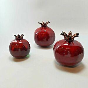 Ceramic Glass Red Pomegranate Handmade Table Decoration Gift Jerusalem Souvenir