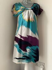 Ted Baker Splash Effect Purple and Turquoise 100% Silk Size 8 (1)