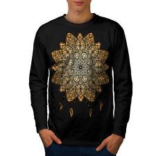 Wellcoda Mandala Yoga para hombre de manga larga T-Shirt, Diseño Gráfico espiritual