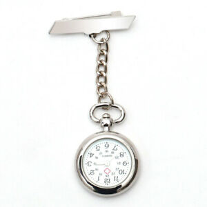 Stainless Steel Nurse Watch Brooch Tunic Fob Watches Doctor Pocket Battery Watch