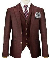 CAVANI DRACO MENS NEW 3 PIECE SUITS TWEED SLIM FIT SUIT WINE RED CHECK