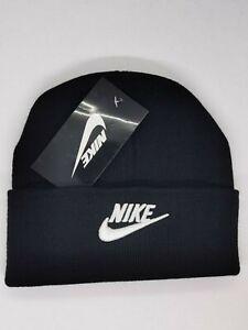 Nike Beanie Winter Cap Black White  Adjustable One Size Unisex Adults ON SALE