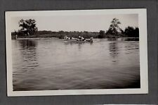 VINTAGE OLD 1930 MINIATURE SMALL RACE GAS POWER OUTBOARD MOTOR WOODEN BOAT PHOTO