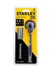"Stanley 3pcs Universal Socket & Accessory Set 3/8"" Drill Adapter, 3/8"" Ratchet"