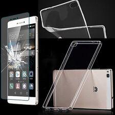Transparent Silicone Phone Case Cover Skin Pouch Bumper Case/Glass Tank Slide 9H