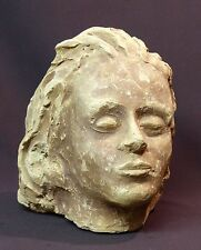 1920 superbe sculpture tête buste femme terre cuite pleine 20cm5.8kg visage