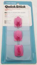 QuickStick Reusable Hooks Self Adhesive Water Resistant Magenta (Pink) 3-Pack